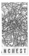 Manchester England Street Map - White Beach Towel