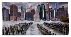 Beach Towel featuring the photograph Manhattan Skyline by Jacqui Boonstra