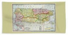 Map Of Puerto Rico 1895 Beach Towel