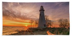 Marblehead Lighthouse Sunrise  Beach Towel