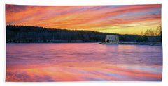 March Sunset At The Old Stone Church Beach Towel