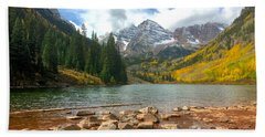 Beach Towel featuring the photograph Maroon Bells by Jacqueline Faust