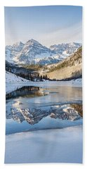 Beach Towel featuring the photograph Maroon Bells Reflection Winter by Nathan Bush