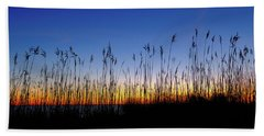 Marsh Grass Silhouette  Beach Towel