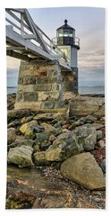 Marshall Point Light From The Rocks Beach Towel