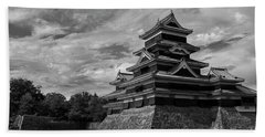 Matsumoto Castle Japan Black And White Beach Towel