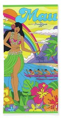 Maui Poster - Pop Art - Travel Beach Towel