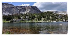 Medicine Bow Peak And Mirror Lake Beach Towel