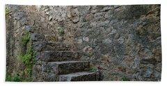 Medieval Wall Staircase Beach Sheet