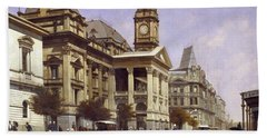 Melbourne Town Hall And Swanston Street, 1889 Beach Towel