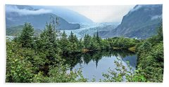 Beach Towel featuring the photograph Mendenhall Glacier 1 by Dawn Richards