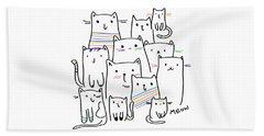 Meow Kitties - Baby Room Nursery Art Poster Print Beach Sheet