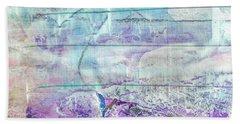 Mermaid Dream - Bright Pastel Tone Purple And White Abstract Art Beach Towel