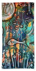 Beach Towel featuring the mixed media Mermaids Dream by Mimulux patricia No