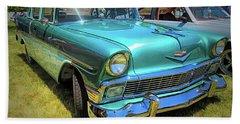 Metallic Green 1956 Chevy Sedan Beach Towel