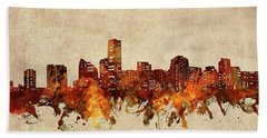 Miami Skyline Sepia Beach Towel