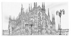 Milan Cathedral Drawing Beach Towel