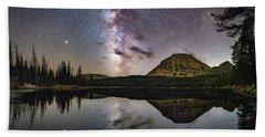 Milky Way At Mirror Lake Beach Towel