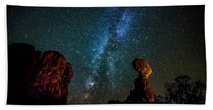 Beach Towel featuring the photograph Milky Way Over Balanced Rock by David Morefield