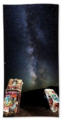 Milky Way Over Mojave Desert Graffiti 1 Beach Towel