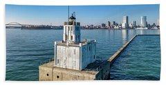 Beach Sheet featuring the photograph Milwaukee Breakwater Light by Randy Scherkenbach