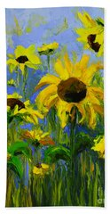 Misty Morning - Sunflower Field Oil Painting, Landscape Art Beach Towel