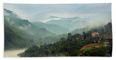 Beach Towel featuring the photograph Misty Mountains by Whitney Goodey