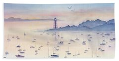 Misty Sunrise Marblehead Harbor Beach Towel