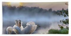 Misty Swan Lake Beach Towel