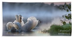 Misty Swan Lake Beach Towel