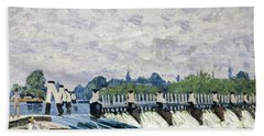 Molesey Weir, Hampton Court, 1874 Beach Towel