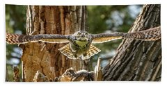 Momma Great Horned Owl Blasting Out Of The Nest Beach Towel