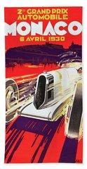 Monaco Grand Prix 1930, Vintage Racing Poster Beach Sheet