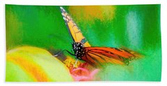 Monarch Butterfly Beautiful Smudge Beach Towel