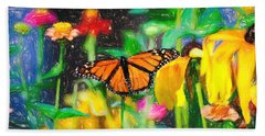Monarch Butterfly Colored Pencil Beach Towel