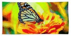 Monarch Butterfly Van Gogh Style Beach Towel