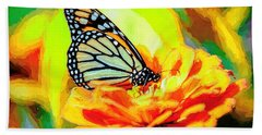 Monarch Butterfly Van Gogh Style Beach Towel