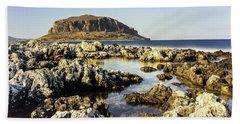 Beach Towel featuring the photograph Monemvasia Rock by Milan Ljubisavljevic