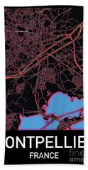 Montpellier City Map Beach Towel