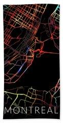 Montreal Quebec Canada Watercolor City Street Map Dark Mode Beach Towel