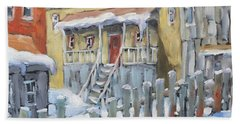 Montreal Winter Shed By Richard Pranke Beach Towel