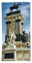 Monument To King Alfonso Xii At Retiro Park In Madrid, Spain Beach Towel