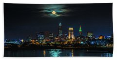 Moon Over Cleveland  Beach Towel