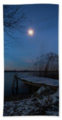Beach Towel featuring the photograph Moonlight Over The Lake by Davor Zerjav