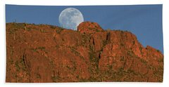 Moonrise Over The Tucson Mountains Beach Towel
