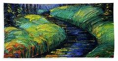 Moonscape Phantasmagoria Textured Impasto Palette Knife Oil Painting Mona Edulesco Beach Towel
