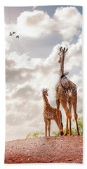 Mother And Baby Giraffe Looking Out Beach Towel