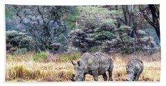 Mother And Calf White Rhino In Kenya Beach Towel