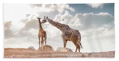 Mother Showing Affection To Baby Masai Giraffe Beach Towel