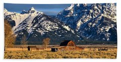 Beach Towel featuring the photograph Moulton Barn Grand Tetons by Jacqueline Faust
